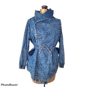 Acid wash denim wrap jacket with hood
